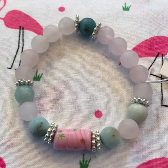 f8d20be22d765 Rose Quartz and Amazonite w/ Chinese Bead Bracelet NWT